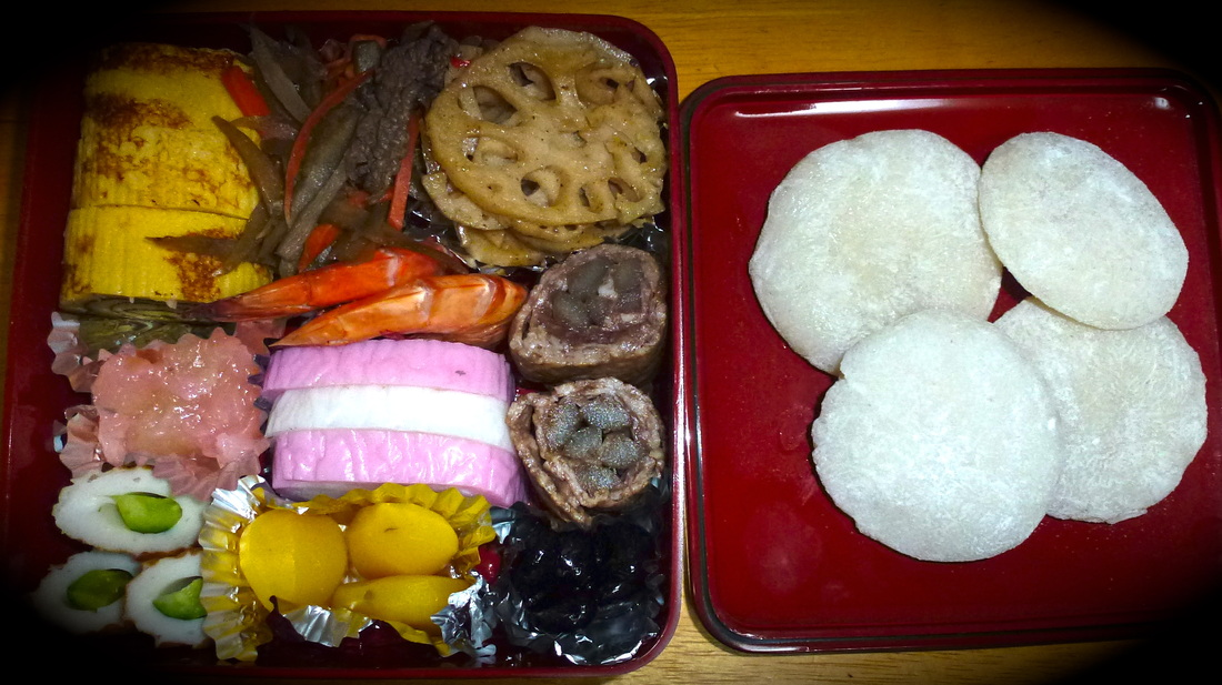Osechi おせち料理. Traditional New Year`s fair kindly given to us by a neighbor